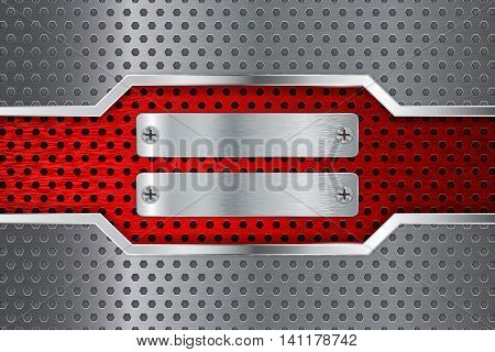 Metal background with steel plate and screw head. Red scratched metal. Vector illustration