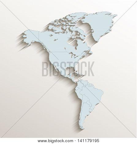 America political map white blue 3D raster