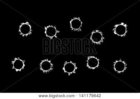 10 bullet hole on black isolated background. 3d illustration..