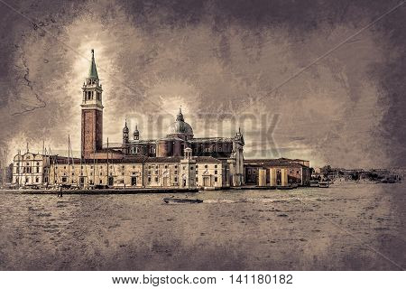 Piazza di San Marco view on Piazza di San Marco from a boat. Vintage painting, background illustration, beautiful picture, travel texture