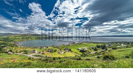 Panoramic View of Uig on the West Coast of the Trotternish Peninsula on the Isle of Skye Scotland