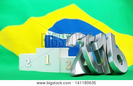 Pedestal Brasil flag 2016 3D illustration  rendering
