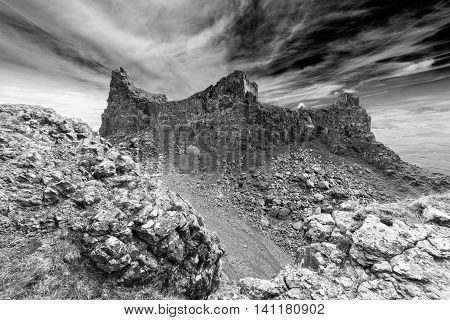 The Prison Volcanic Rocks of the Quiraing Hill on the Isle of Skye Black and White Edit