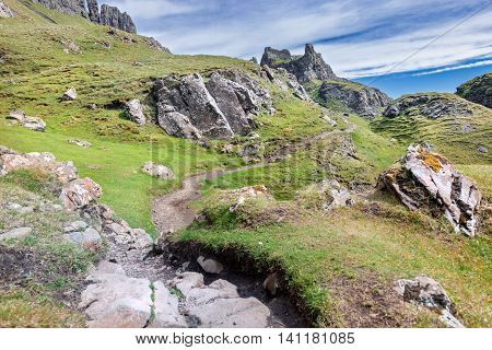 Trekking Path to Quiraing Hill on the Isle of Skye