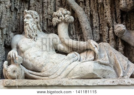 Four Fountains is a group of four Late Renaissance fountains in Rome Italy. The figure of one fountain represents the River Tiber