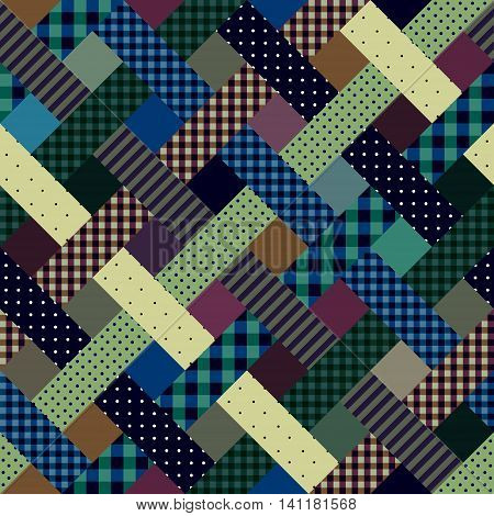 Seamless background pattern. Abstract plaid diagonal pattern in a patchwork style.