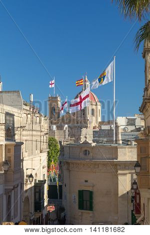 View of decorated St. George's Basilica from the Citadel During the Feast/Festa of St. George Victoria Gozo Malta Europe July 17 2016