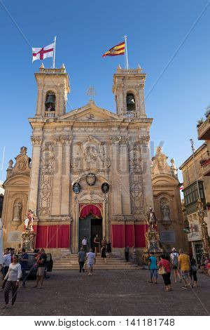 Decorated St. George's Basilica in the Pjazza San Gorg During the Feast/Festa of St. George Victoria Gozo Malta Europe July 17 2016