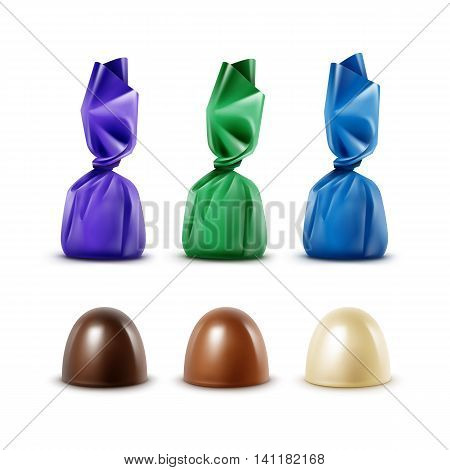 Vector Set of Realistic Dark Black Bitter White Milk Chocolate Candies in  Colored Green Blue Violet Glossy Foil Wrapper Close up Isolated on White Background