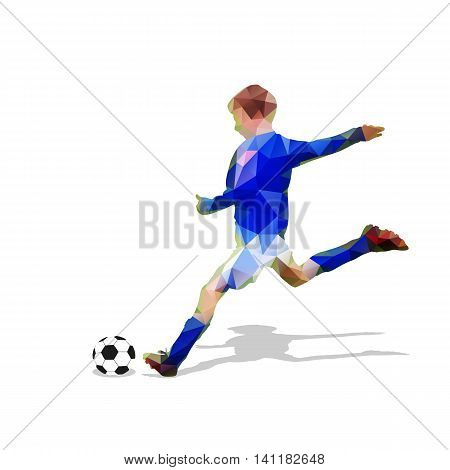 Abstract soccer player. Kicking ball. Polygonal soccer player geometric blue vector football player silhouette