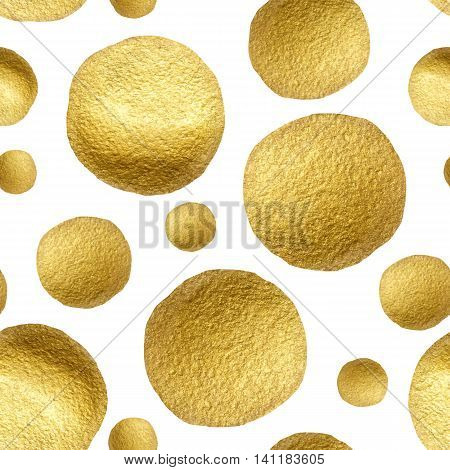Seamless pattern gold circle on a white background. Pattern gold polka dot. Gold glitter circle pattern. Design for fabric textile wrapping paper card invitation wallpaper web design wedding