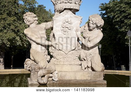 Detail of Artichoke Fountain in Retiro Park Madrid Spain. It was built in 1781 by the architect Ventura Rodriguez