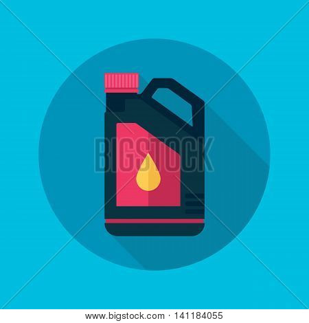 Plastic canister with motor, engine oil. Vector illustration, flat style.