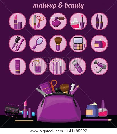 Beauty, makeup icons and makeup bag with beautician tools.
