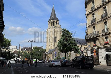 PARIS, FRANCE - MAY 12, 2015: Church of Saint-Germain des Pres is one of the oldest churches in France (founded in the 6th century).