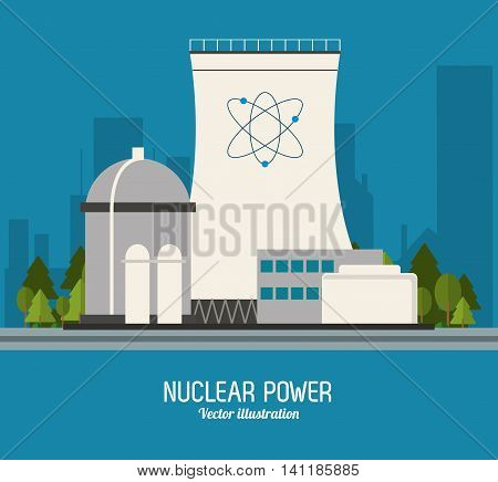 Nuclear plant power atom industry building chimney icon. Flat and Colorfull illustration. Vector graphic