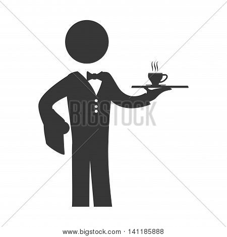 Waiter mug male pictogram suit person icon. Isolated and flat illustration. Vector graphic