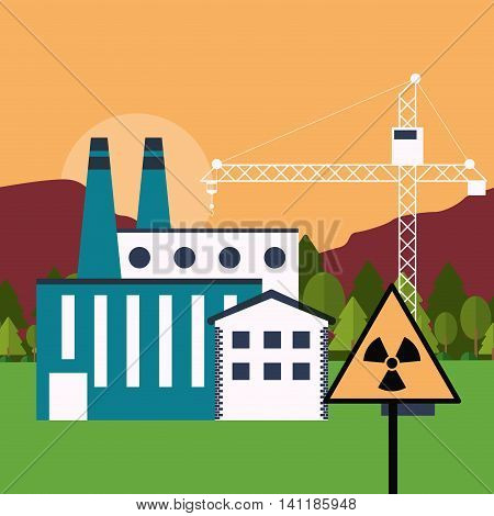 Plant crane road sign biohazard landscape building chimney factory industry icon. Flat and Colorfull illustration. Vector graphic