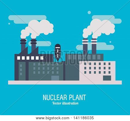 Nuclear plant power smoke industry building chimney icon. Flat and Colorfull illustration. Vector graphic