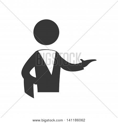 Waiter male pictogram suit person icon. Isolated and flat illustration. Vector graphic