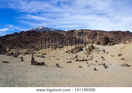 View on the caldera of the volcano Teide on Tenerife Canary islands Spain