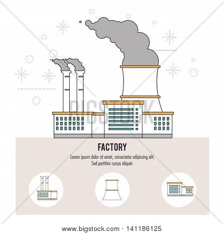Plant smoke building chimney factory industry icon. Isolated and Colorfull illustration. Vector graphic