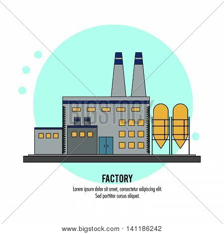 Plant building chimney factory industry icon. Circle isolated and Colorfull illustration. Vector graphic