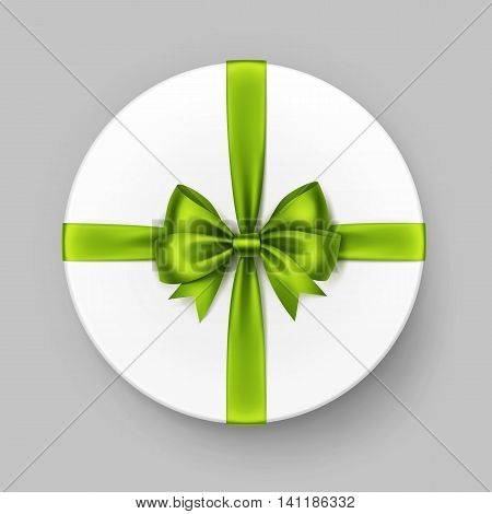 Vector White Round Gift Box with Shiny Light Green Lime Satin Bow and Ribbon Top View Close up Isolated on Background