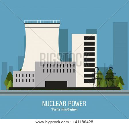 Nuclear plant power trees industry building chimney icon. Flat and Colorfull illustration. Vector graphic