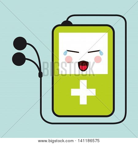 mp3 headphones kawaii cartoon cry cute icon. Flat and Colorfull illustration. Vector graphic