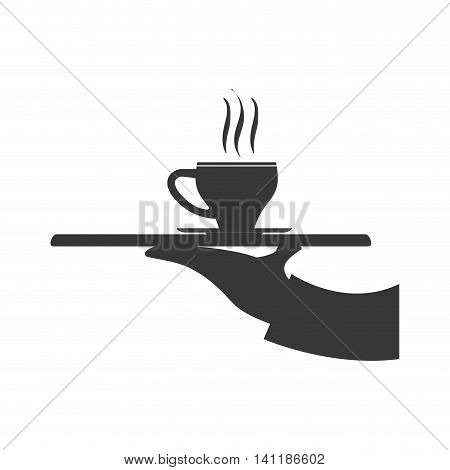 Plate mug arm hand waiter kitchen restaurant icon. Isolated and flat illustration. Vector graphic