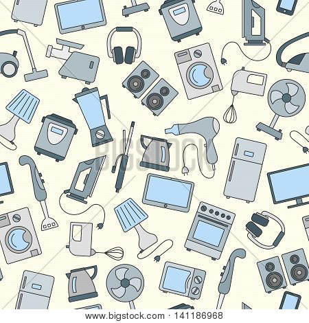 Seamless background with a simple icons on the topic of household appliances a colored icons on a light background
