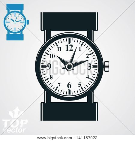 Vector stylized black and white wristwatch illustration