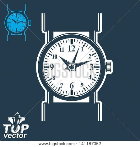 Vector white wristwatch graphic illustration isolated on dark background