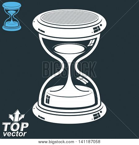 Old-fashioned elegant 3d hourglass with pour sand.