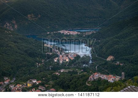 Garfagnana Tuscany Italy - Vagli di Sotto village on Lago di Vagli Vagli lake view from Campacatino village