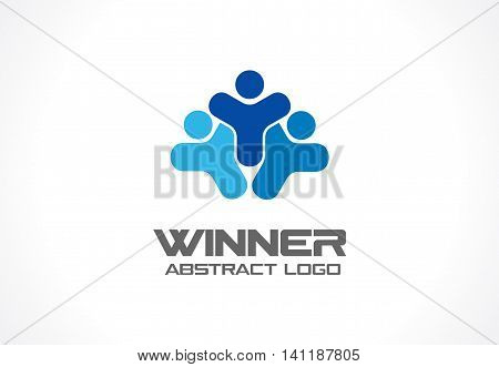 Abstract logo for business company. Corporate identity design element. Leader, head, sport competition winer Logotype idea. People group, Network, Social Media concept. Colorful Vector icon