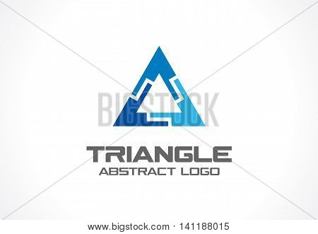 Abstract business company logo. Corporate identity design element. Industry, finance, bank logotype idea. Triangle group, network integrate, technology interaction concept. Color Vector connect icon