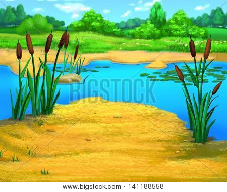 Digital Painting Illustration of Reeds by the river in a summer day. Cartoon Style Artwork Scene Story Background.