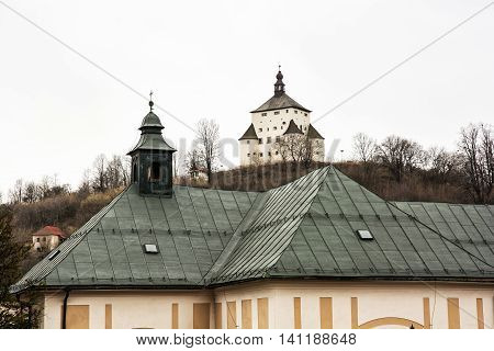 New castle in Banska Stiavnica Slovak republic. Historical minning city. Architectural theme. Travel destination. Cultural heritage.