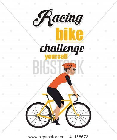 bike cycle bicycle racing man male boy cartoon helmet challenge yourself icon. Pointed and Colorfull illustration. Vector graphic