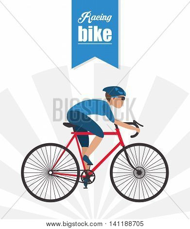 bike cycle bicycle racing man male boy cartoon helmet challenge yourself icon. Striped ribbon and Colorfull illustration. Vector graphic