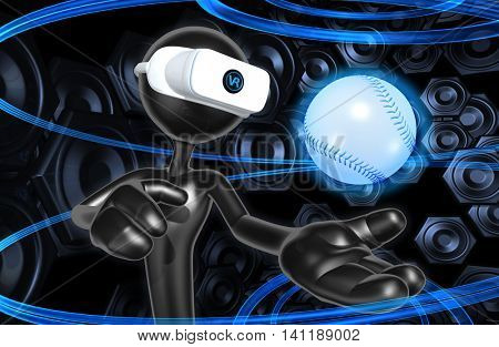 Virtual Reality VR Baseball 3D Illustration