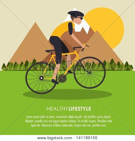 bike cycle bicycle racing man male boy cartoon helmet challenge yourself landscape mountain trees sun icon. Colorfull illustration. Vector graphic
