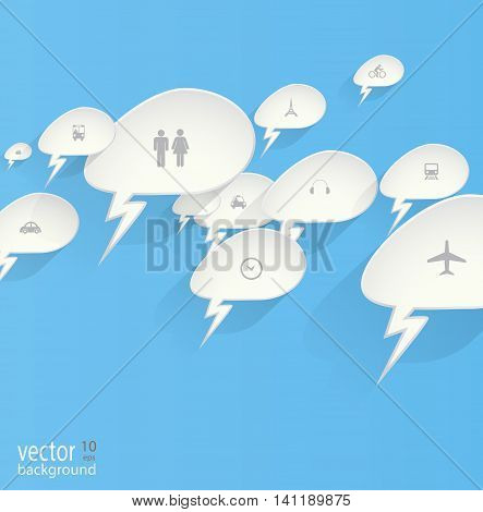 Transportation icons with blue background for you design