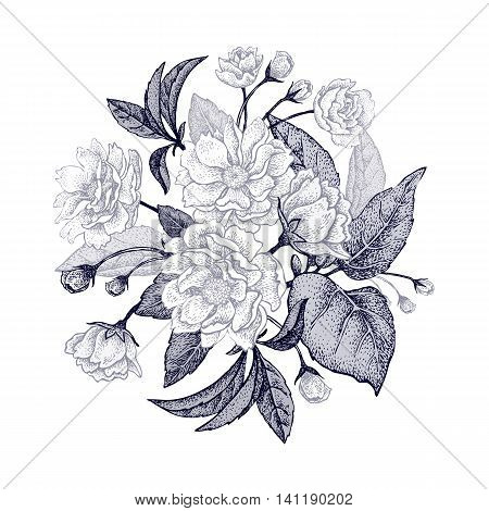 Black and white card with bouquet of the Chinese plum tree branches. The national flower of China. Space for text. Vintage style graphics.