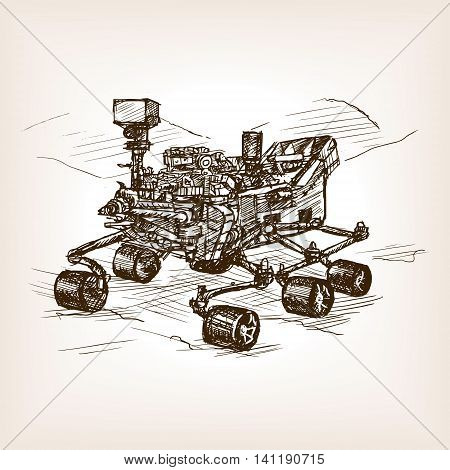 Mars rover sketch style vector illustration. Old hand drawn engraving imitation.