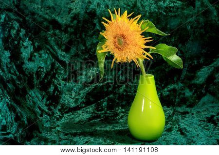 Flower Picture Decorative Sunflowers In A Vase On A Green Background.