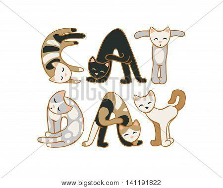 Cat day. August 8 holiday. Vector inscription of cats