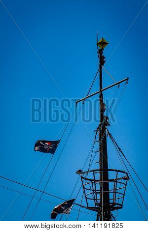 The mast of pirate ship with observation nest